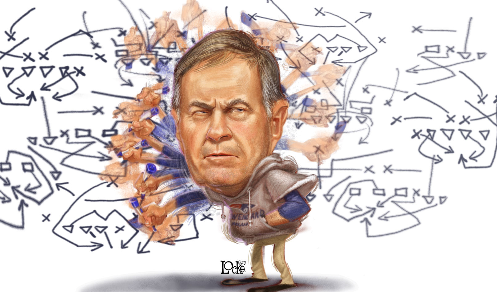 Gary Locke humorous Illustration of Bill Belichick designing a play on a white board.