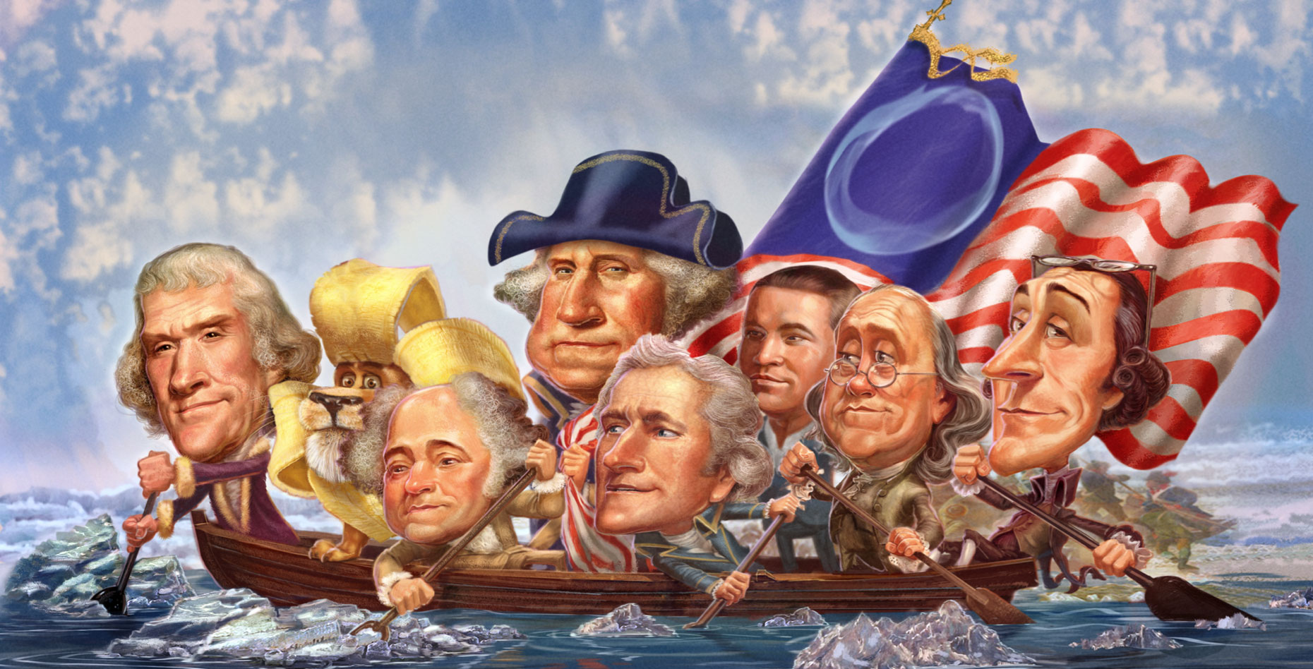 Crossing-the-Delaware.  Gary Locke Illustration