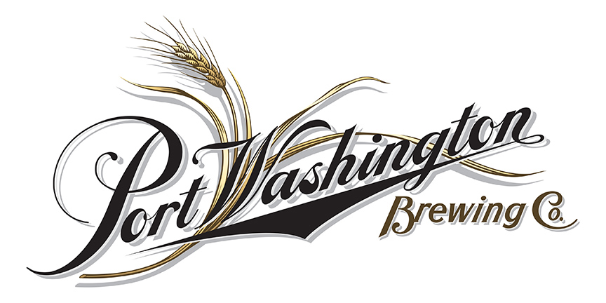 Hand lettered Port Washington Brewery Logo by Keith Ward illustration with hops and barely.