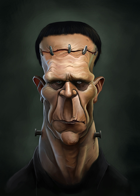 frankenstein illustration by Adrian Lubbars